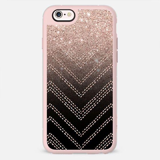 Chic elegant faux rose gold glitter ombre modern geometric chevron pattern fashion stitch on black by Girly Trend -