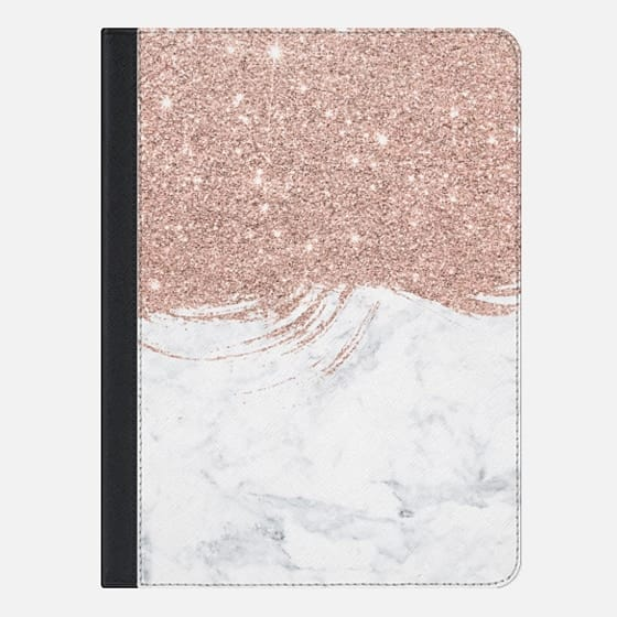 Modern faux rose glitter brushstrokes marble color block by Girly Trend