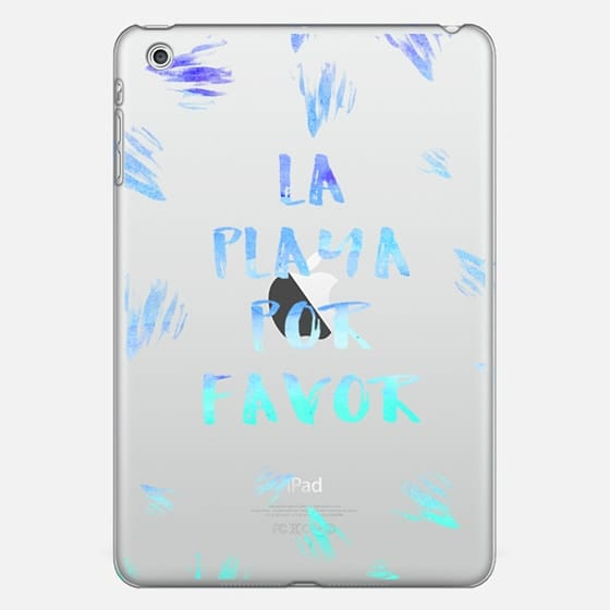 Modern summer la playa por favor typography blue beach sea watercolor brushstrokes by Girly Trend -