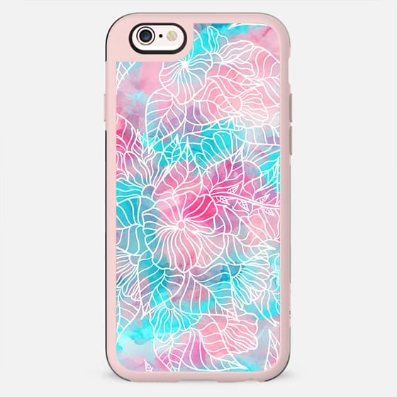Modern summer white hand drawn floral pattern pink turquoise watercolor