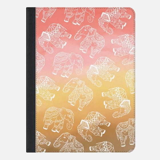 Paisley floral lace elephants illustration pink brown boho watercolor by Girly Trend - iPad Folio Case