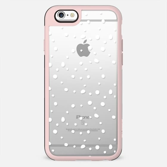 Minimalist hand painted white watercolor polka dots hexagonal geometric pattern transparent by Girly Trend - New Standard Case