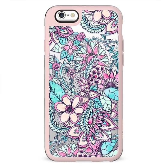 Pastel hand drawn floral pattern pink turquoise teal flowers by Girly Trend