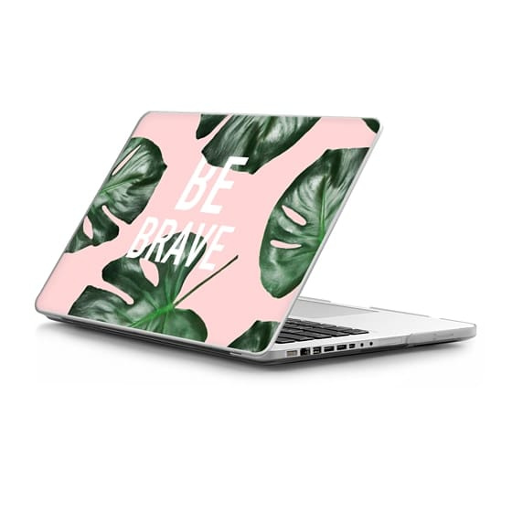 MacBook Pro 13 Sleeves - Modern white be brave motivation typography green monstera leaf by Girly Trend