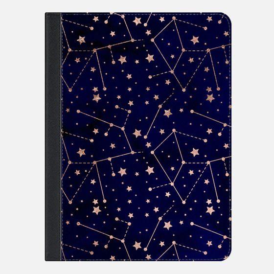Modern rose gold constellation zodiac stars pattern navy blue watercolor