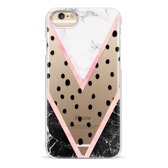 iPhone 6 Cases - Modern pink pastel black white marble polka dots pink blush watercolor chevron color block by Girly Trend
