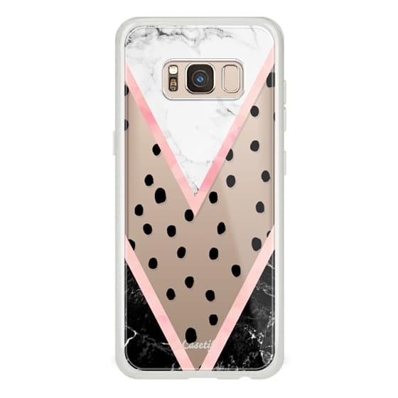 Samsung Galaxy S8 Cases - Modern pink pastel black white marble polka dots pink blush watercolor chevron color block by Girly Trend
