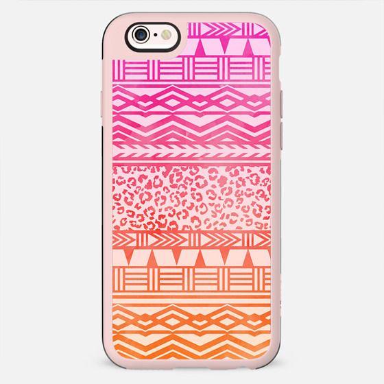 Modern pink ombre watercolor aztec leopard pattern by Girly Trend - New Standard Case