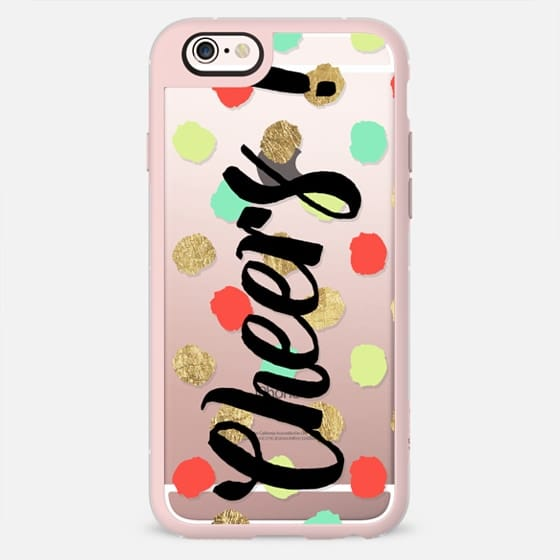 Cheers typography Christmas pastel turquoise red gold foil polka dots pattern by Girly Trend -