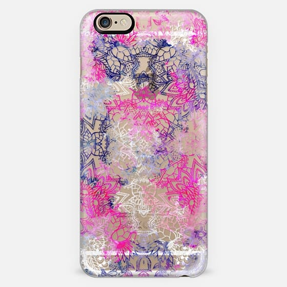 pink purple watercolor floral mandala ahnd drawn pattern by Girly Trend -