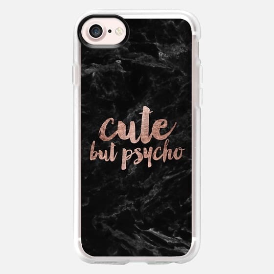 Modern rose gold typography Cute but psycho black marble -