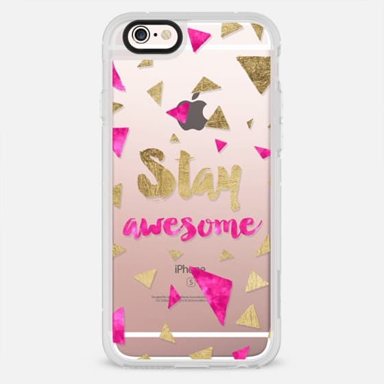 Modern faux gold foil pink watercolor stay awesome typography triangles by Girly Trend - New Standard Case