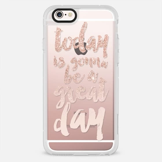 Modern quote today is gonna be great day pink rose gold glitter ombre typography by Girly Trend - New Standard Case