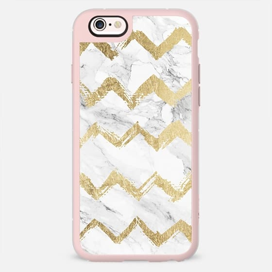 Elegant faux gold foil hand drawn chevron pattern on modern white marble by Girly Trend