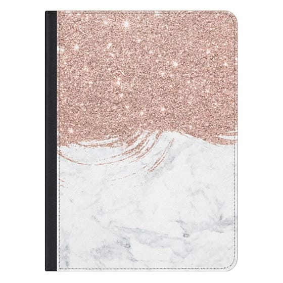 12.9-inch iPad Pro Covers - Modern faux rose glitter brushstrokes marble color block by Girly Trend
