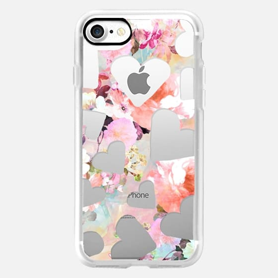 Modern floral watercolor semi transparent love hearts pattern by Girly Trend -