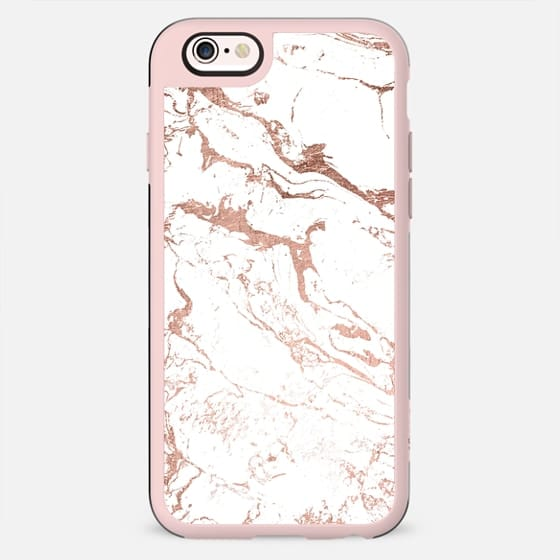 Modern chic elegant faux rose gold white marble by Girly Trend