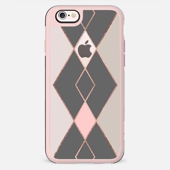 Modern pastel pink gray color block rose gold stripes diamonds pattern by Girly Trend - New Standard Case