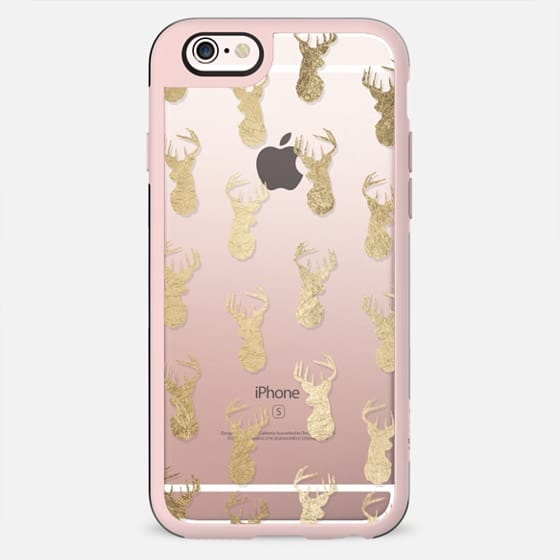 Modern gold foil deer head pattern christmas clear by Girly Trend - New Standard Case