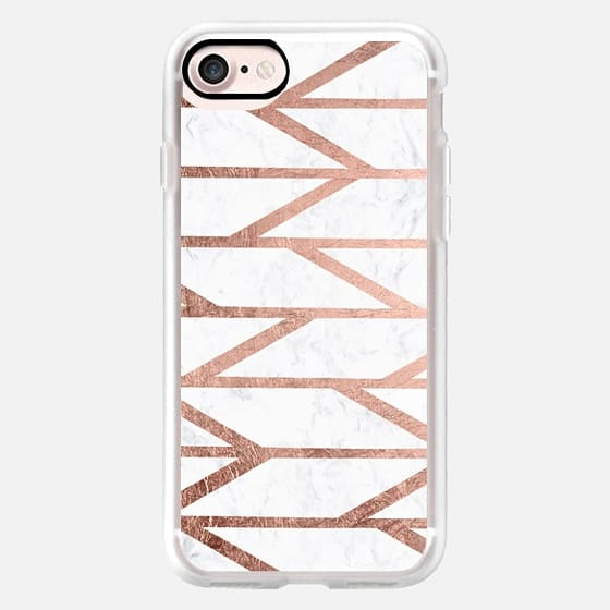 Modern faux rose gold herringbone chevron stripes pattern white marble by Girly Trend -