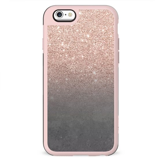 Rose gold glitter ombre grey cement concrete industrial by Girly Trend