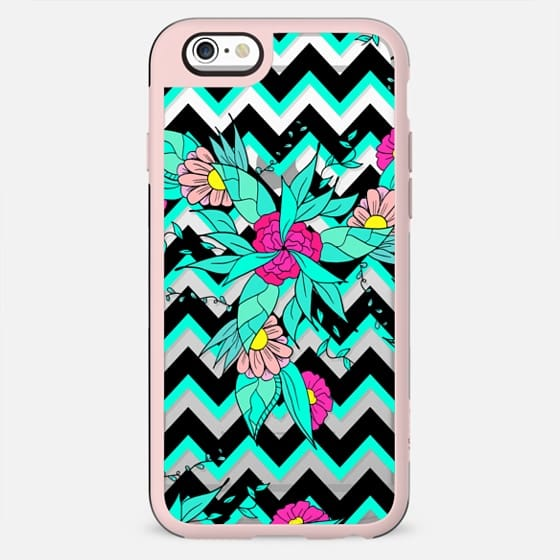 Summer bold tropical pink turquoise floral pattern geometric chevron by Girly Trend