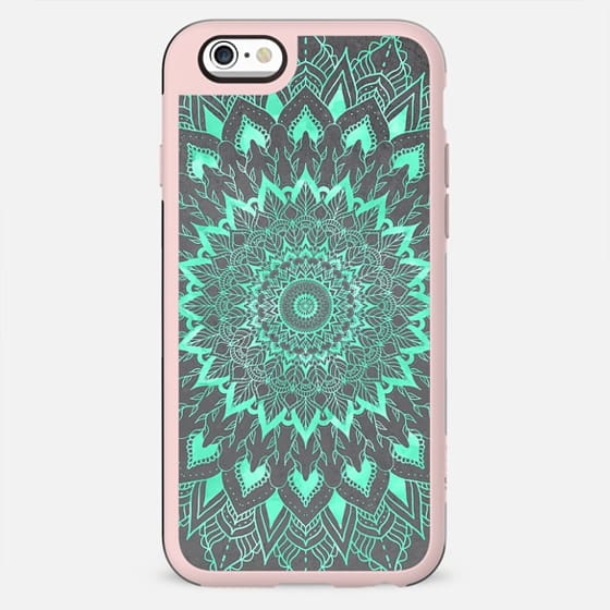 Boho turquoise watercolor floral mandala on grey industrial cement concrete by Girly Trend