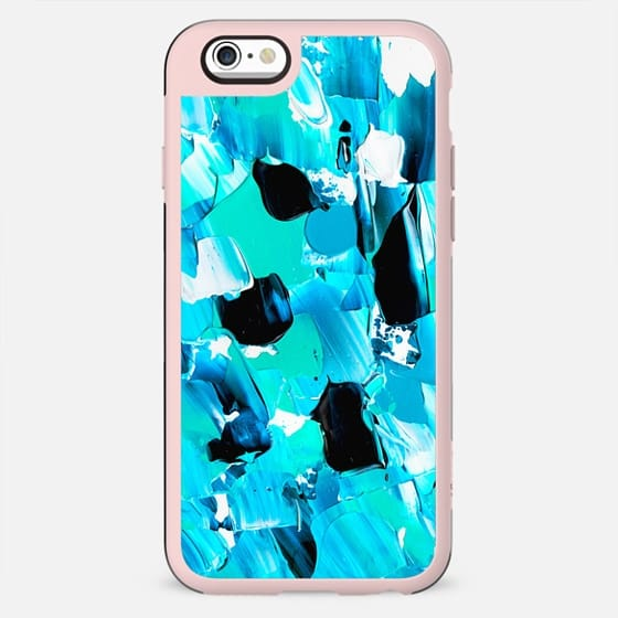 Modern abstract mermaid turquoise blue brushstrokes acrylic paint by Girly Trend - New Standard Case