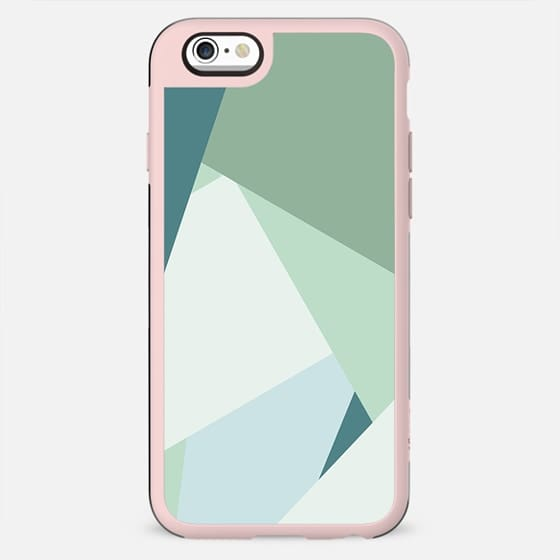 Modern abstract beach color block geometric stripes blue green pattern by Girly Trend - New Standard Case