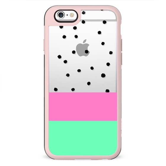 Modern black white polka dots pink mint green geometric color block stripes transparent by Girly Trend
