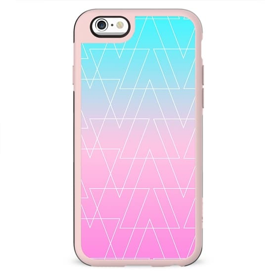 White geometric triangles pattern on pink blue ombre gradient pattern by Girly Trend