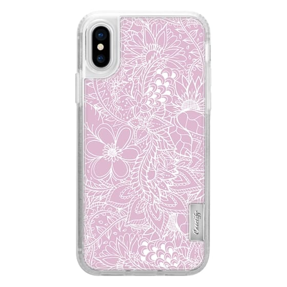 iPhone 6s Cases - Modern trendy white floral lace hand drawn pattern on mauve pink lavender by Girly Trend