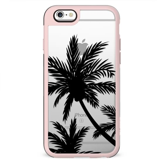 MOdern tropical black palm trees summer beach transparent by Girly Trend
