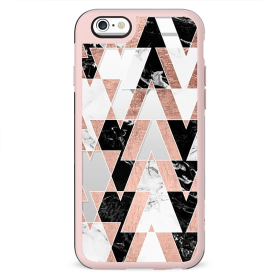 Modern geometric triangles rose gold black white abstract marble pattern by Girly Trend