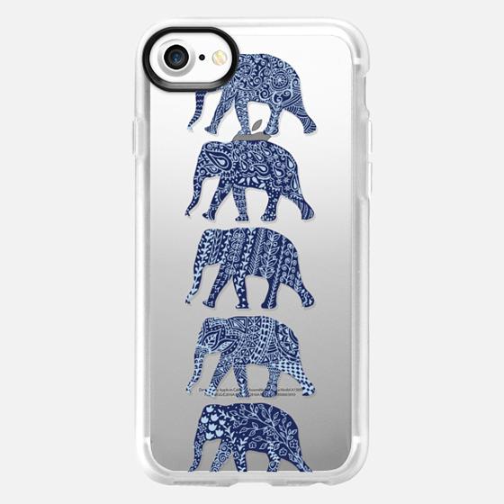 Patterned Elephants(navy) - Wallet Case
