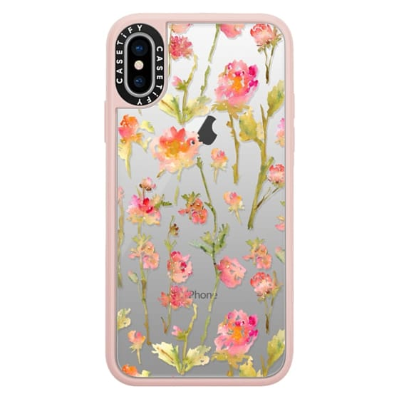 iPhone X Cases - Pale Roses Clear