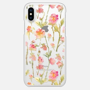 iPhone X Case Pale Roses Clear