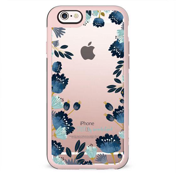Blue Flowers Transparent iPhone Case