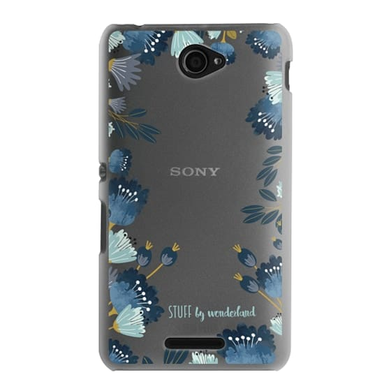 Blue Flowers Transparent iPhone Case