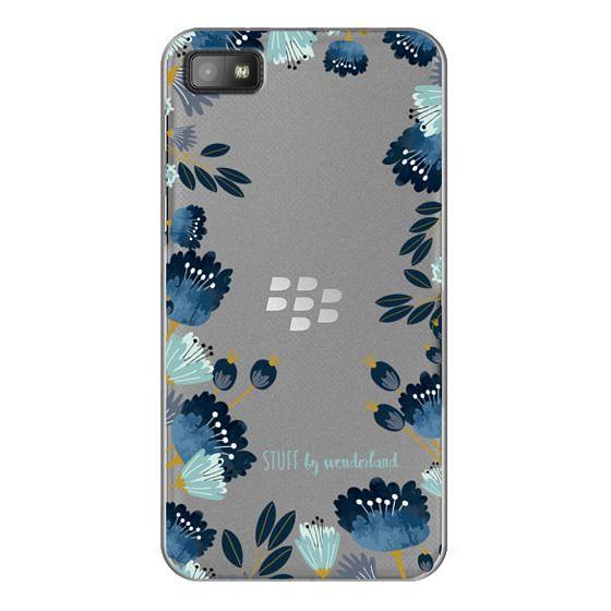Blackberry Z10 Cases - Blue Flowers Transparent iPhone Case