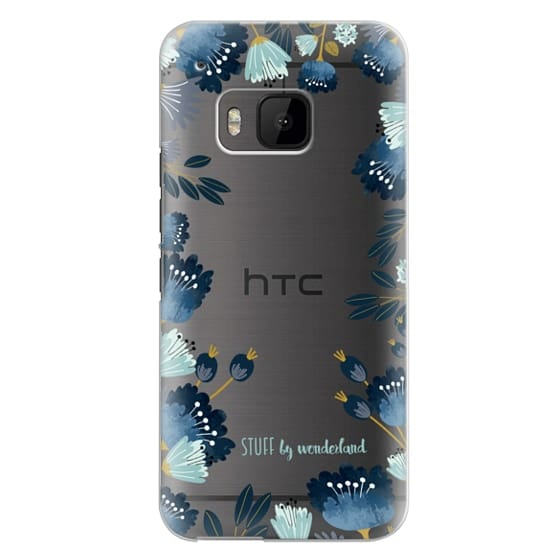Htc One M9 Cases - Blue Flowers Transparent iPhone Case