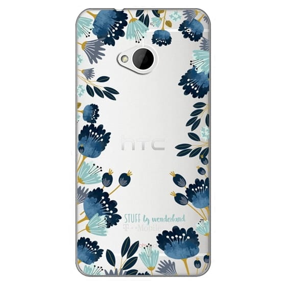 Htc One Cases - Blue Flowers Transparent iPhone Case