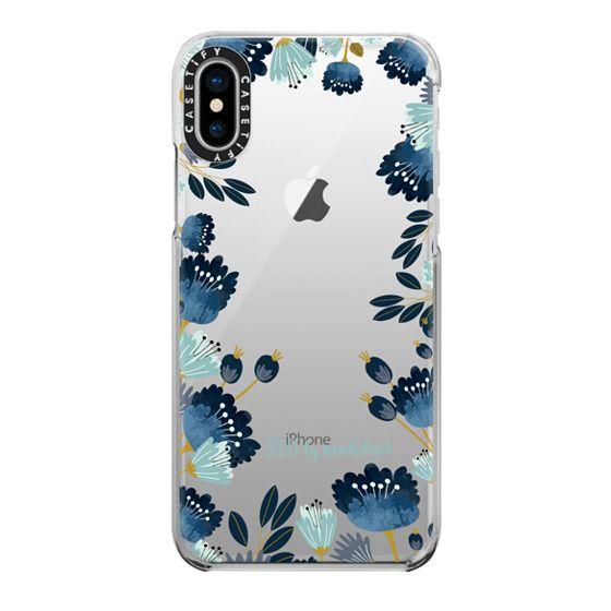 iPhone X Cases - Blue Flowers Transparent iPhone Case