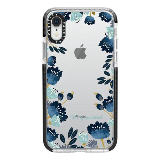 iPhone XR Cases - Blue Flowers Transparent iPhone Case