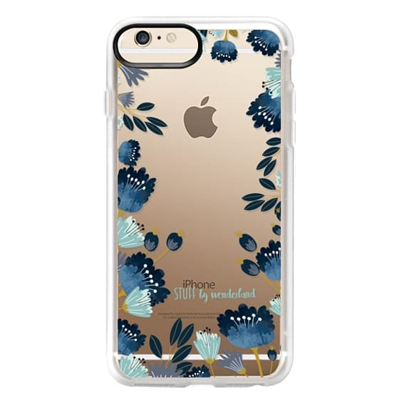 iPhone 6 Plus Cases - Blue Flowers Transparent iPhone Case