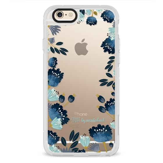 iPhone 4 Cases - Blue Flowers Transparent iPhone Case