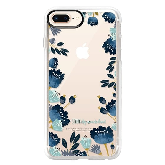 iPhone 8 Plus Cases - Blue Flowers Transparent iPhone Case