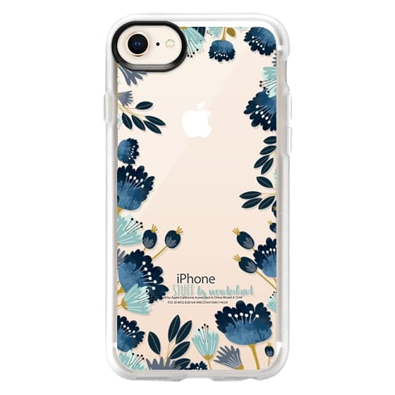 iPhone 8 Cases - Blue Flowers Transparent iPhone Case