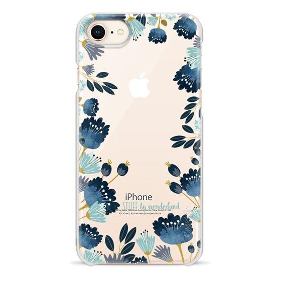 iPhone 8 Cases - Blue Flowers Transparent iPhone Case