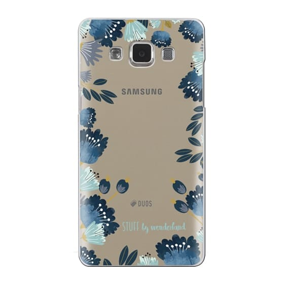 Samsung Galaxy A5 Cases - Blue Flowers Transparent iPhone Case
